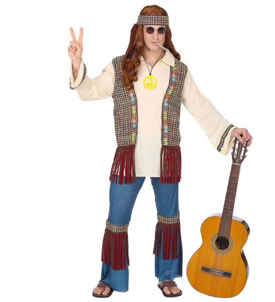Adults Happy Hippie Costume 60s Fancy Dress